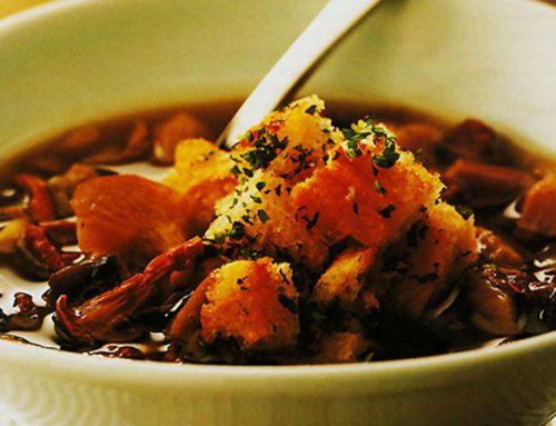 Supa de ciuperci cu crutoane